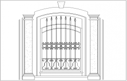 Iron door design view with column view