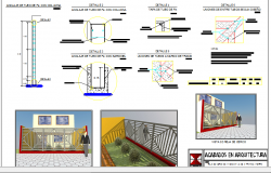 Iron fence installation details with front view of house dwg file