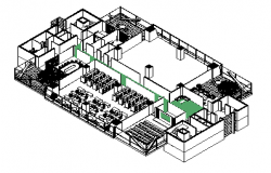 Isometric 3D view design, Power company Office layout drawing