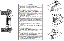 Isometric drawing of curtain wall section design drawing