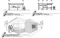 Isometric elevation and front and back section details of canteen of university dwg file