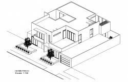 Isometric house view plan dwg file