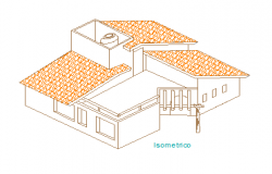 Isometric view design drawing Single family house design drawing