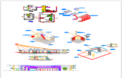 Isometric view of  hospital dwg file
