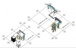Isometric view of Industrial plan machinery details dwg file