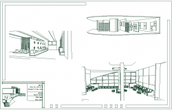 Isometric view of art gallery with internal area dwg file