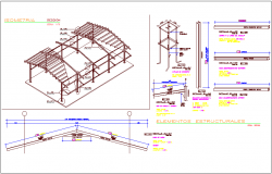 Isometric view of classroom view with structural detail of I beam and channel dwg file