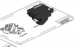 Isometric view of office building layout plan dwg file