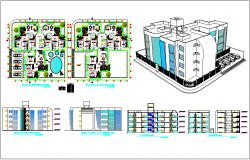 Isometric view of resident flat design with plan,elevation and section view dwg file