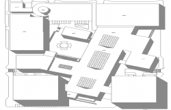 Isometric view of shopping center second floor plan dwg file