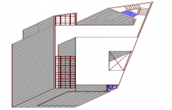 Isometric view of side elevation of office building dwg file