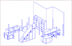 Isometric view of sofa set,ward robe,table and chair furniture view dwg file