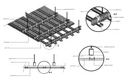 Isometric view of suspended ceiling with channel and structural detail view dwg file