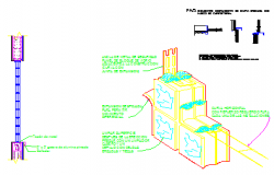 Isometric view with blocks of glass detail drawing