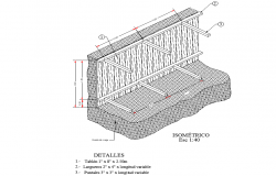 Isometric wood timbering plan detail dwg file