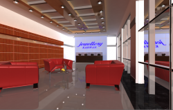 Jewelry shop interior design details dwg file