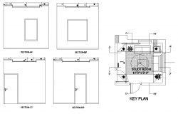 Key Plan of Study room 10'0'' x 9'3'' with different Section in Autocad
