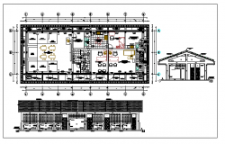 Kids school elevation, section and layout plan details dwg file