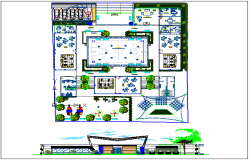 Kids school landscape view and elevation dwg file
