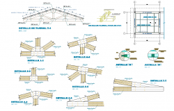 King post Section roof plan detail dwg file