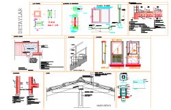 King post and stair section plan layout file