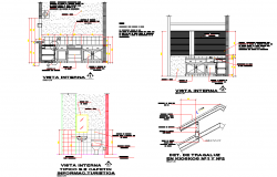 Kiosk and cafe plan detail dwg file