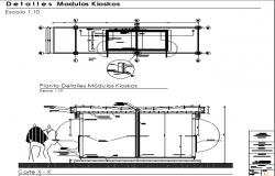 Kiosk module in shopping center details dwg file