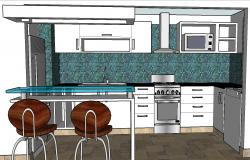 Kitchen 3d drawing, furniture and interior cad drawing details dwg file