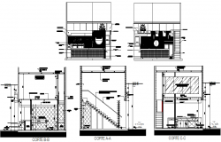Kitchen Elevation and section detail dwg file
