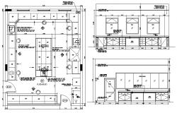 Kitchen Floor Plan with Dimension CAD file