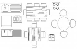 Kitchen accessories and furniture block design dwg file