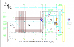 Kitchen and dining area plan with architectural view for office area dwg file