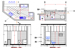 Kitchen and toilet plan detail dwg file