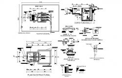 Kitchen construction, structure and function plan details dwg file