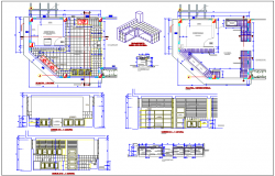 Kitchen design view with plan and sectional view with structural detail for school dwg file