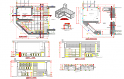 Kitchen detail and design for school cad files