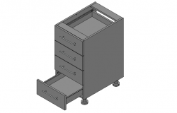 Kitchen drawer unit 3d elevation