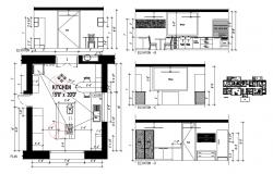 Kitchen elevation, section, plan and interior details dwg file