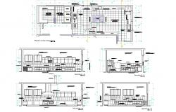 Kitchen fitting plan and section dwg file