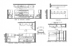 Kitchen furniture detail plan and elevation 2d view layout file