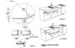 Kitchen furniture pull-out table isometric view and trash cabinet details dwg file