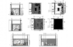 Kitchen layout with sections in autocad