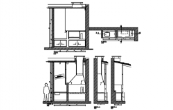 Kitchen plan and elevation, section detail dwg file