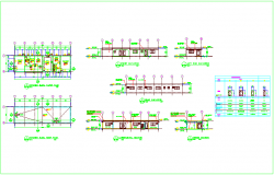Kitchen plan and elevation design view with schedule of door dwg file