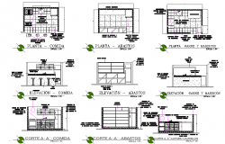 Kitchen plan and elevation dwg file