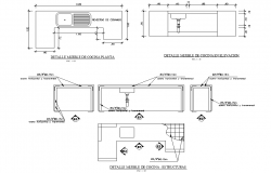 Kitchen plan and section detail dwg file