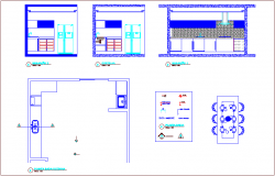 Kitchen plan and section view dwg file