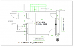 Kitchen plan view design with dimension detail dwg file