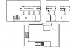 Kitchen plan with detail dimension in dwg file