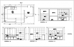 Kitchen plan with different axis section view for admin area with architectural view dwg file
